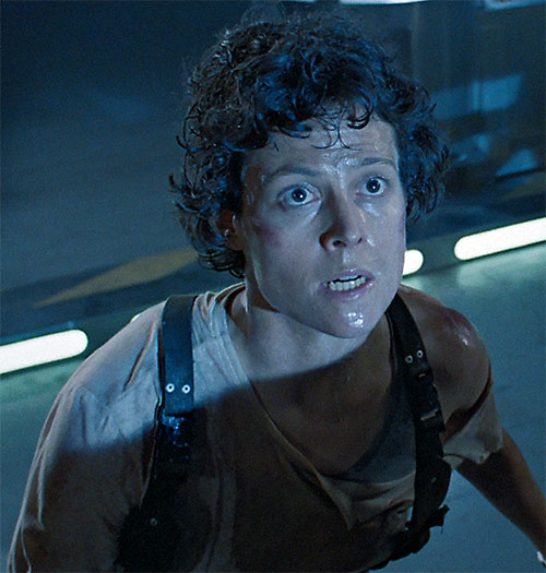 Ellen Ripley (Sigourney Weaver in Alien movies) sweaty high angle closeup