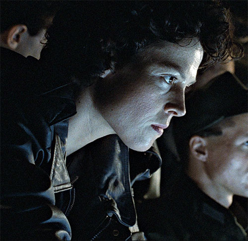 Ellen Ripley (Sigourney Weaver in Alien movies) face closeup in screen glare