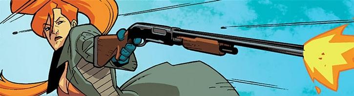 Elsa Bloodstone fires her shotgun one-handed