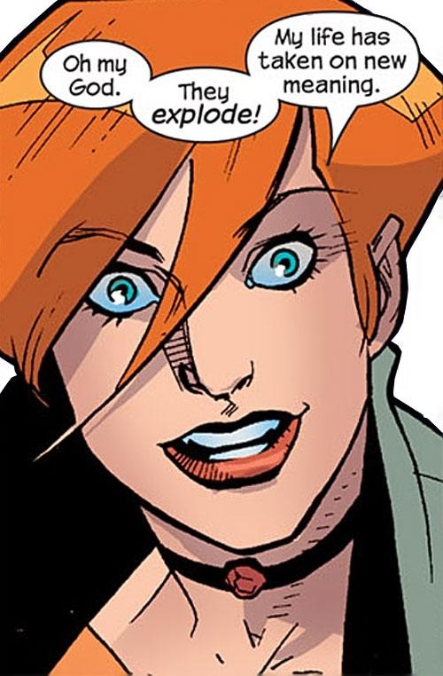 Elsa Bloodstone of Nextwave (Marvel Comics) ecstatic face closeup