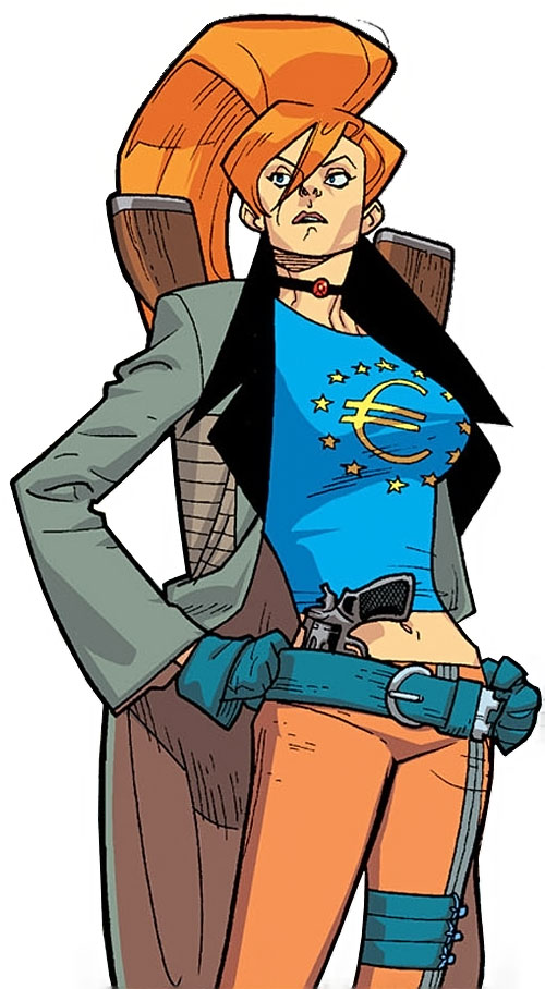 Elsa Bloodstone of Nextwave (Marvel Comics) with her European T-Shirt and 3 guns