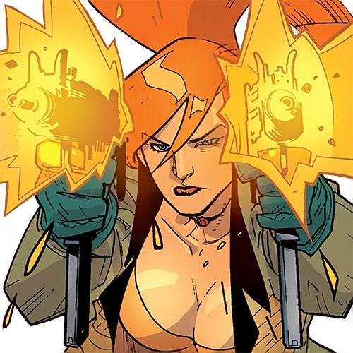Elsa Bloodstone of Nextwave (Marvel Comics) dual-wielding Uzis