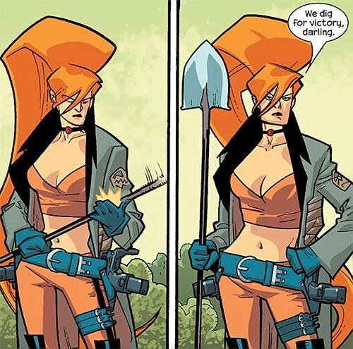 Elsa Bloodstone of Nextwave (Marvel Comics) deploys her shovel