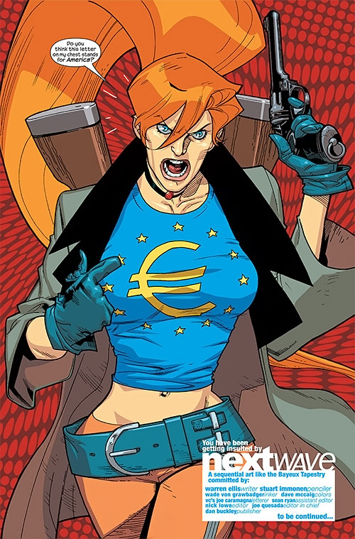 Elsa Bloodstone of Nextwave (Marvel Comics) with her € Euro T-Shirt