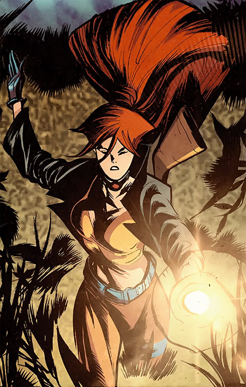 Elsa Bloodstone (Marvel Comics after Nextwave) at night with a flashlight