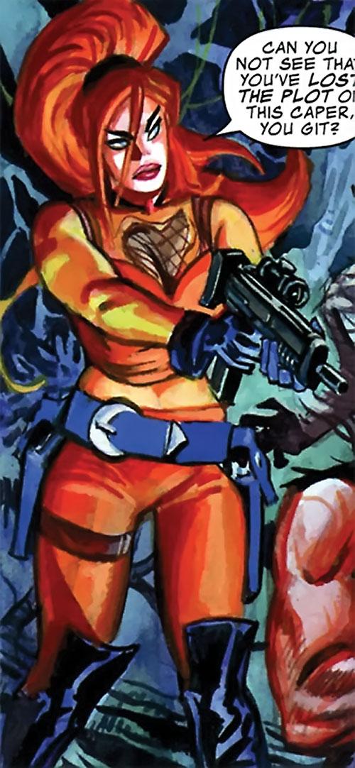 Elsa Bloodstone (Marvel Comics after Nextwave) pointing a PDW