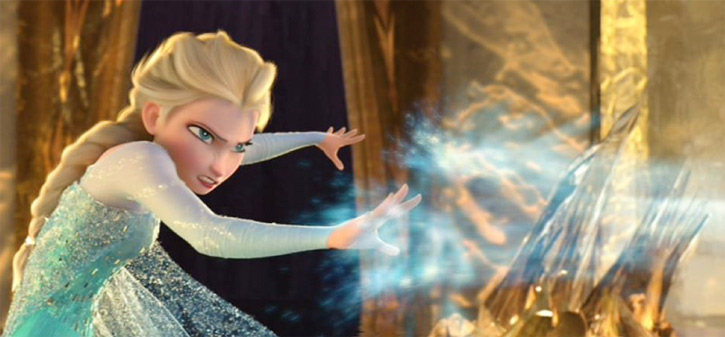 Elsa from Disney's Frozen does a cold blast
