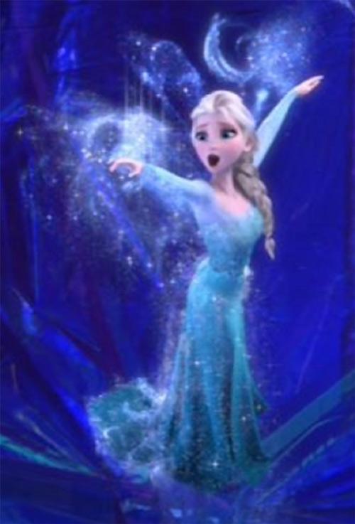 Elsa from Disney's Frozen using her powers