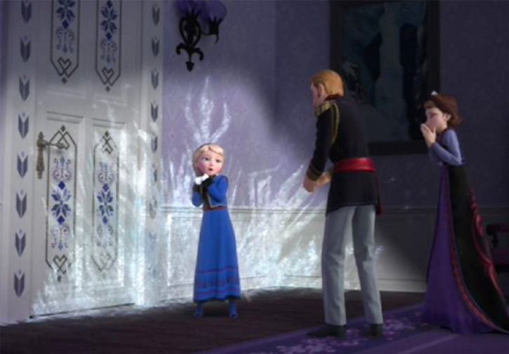 Elsa from Disney's Frozen, as a kid, losing control of her powers