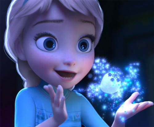 Elsa from Disney's Frozen as a kid, making snow