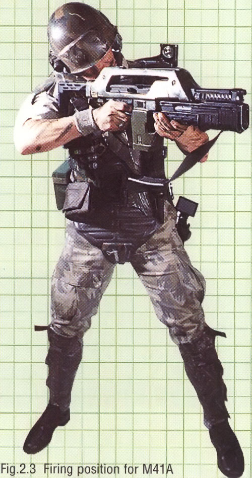 Colonial Marine (Aliens movie) aiming a pulse rifle