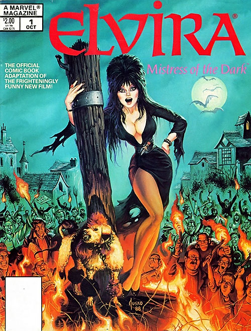 Elvira Mistress of the dark (Cassandra Peterson) - Marvel magazine cover by Jusko