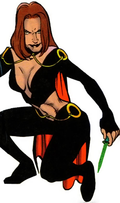 Emerald Empress (post-reboot) in her black costume over a white background