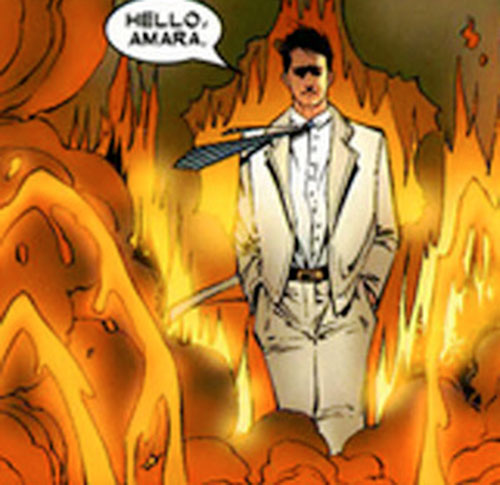 Empath of the Hellions (Marvel Comics) wearing a white suit amidst flames