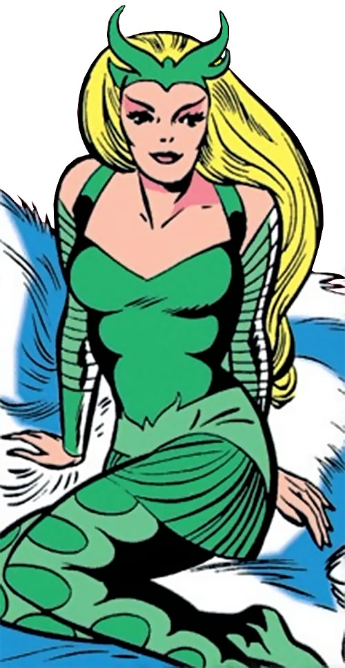 Enchantress (Thor enemy) (Marvel Comics) (Early) sitting on white fur