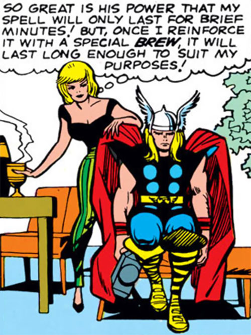 Enchantress (Thor enemy) (Marvel Comics) (Early) and a mesmerized Thor