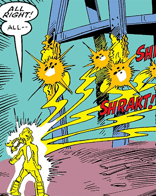 Energizer of the Power Pack (Marvel Comics) (Katie) blasting I-beams