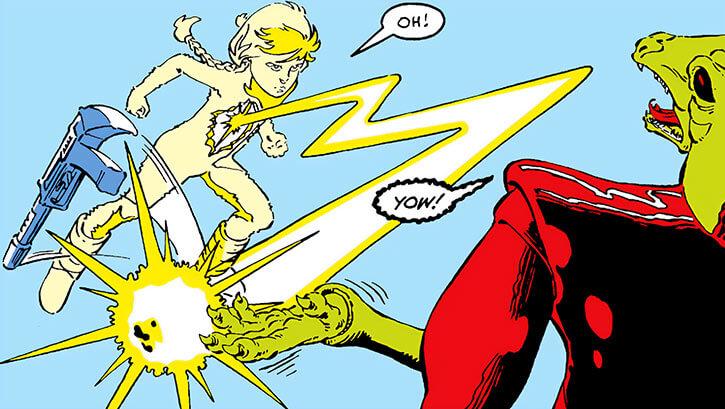 Energizer (Katie Power) disarms a Snark guard (Marvel Comics)