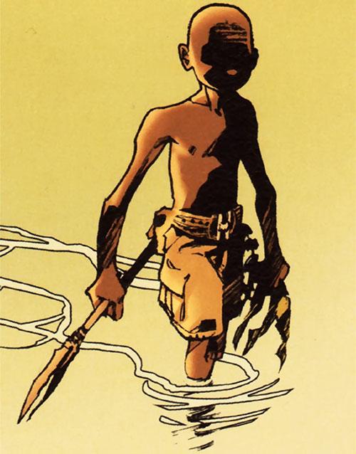 Niourk - Enfant Noir - Olivier Vatine - dans l'eau avec une lance