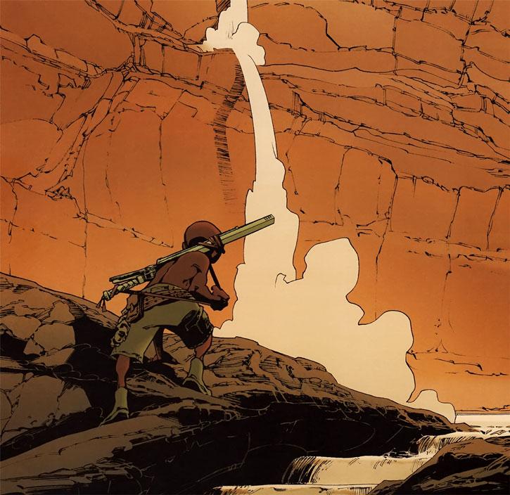 Niourk - Enfant Noir - Olivier Vatine - canyon et torrent