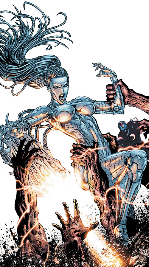The Engineer from the Authority (Wildstorm Comics) fighting zombie cyborgs