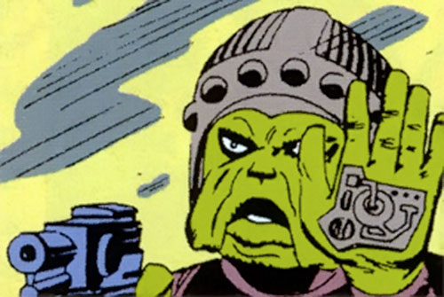 Living Eraser (Marvel Comics) (Giant Man enemy) shows his palm device