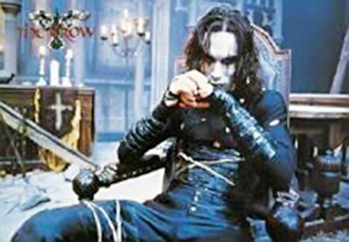 Eric Draven (Brandon Lee in the Crow) in a church