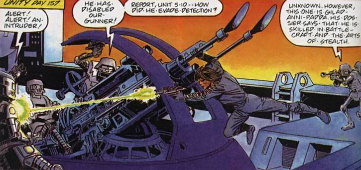 The Eternal Warrior (Gilad Anni-Padda) attacks robot gunners