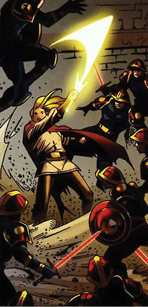 Ethan of Heron (Scion comics by Crossgen) fighting soldiers with red energy swords