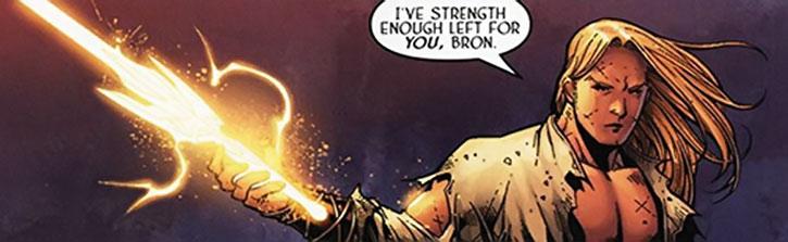 Ethan Heron with energy sword