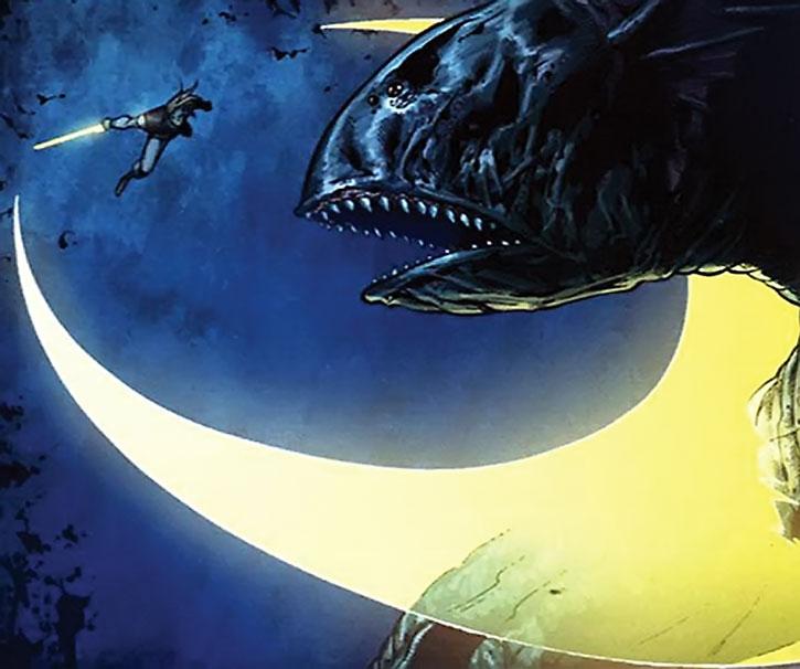 Ethan Heron slashes at a monster