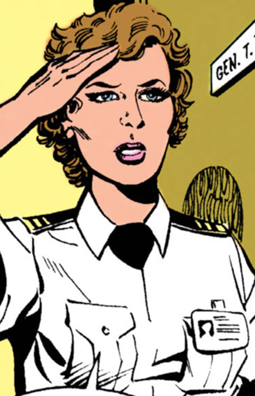 Etta Candy-Trevor (Wonder Woman ally) (DC Comics) in a white uniform shirt