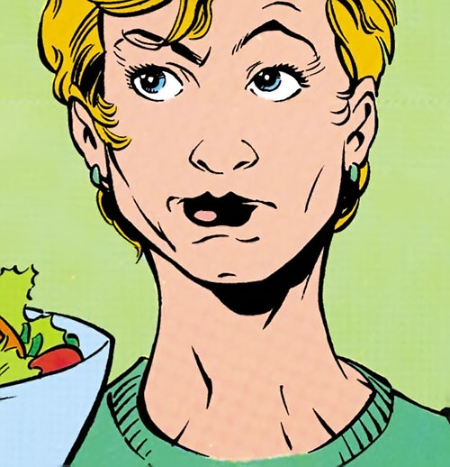 Etta Candy-Trevor (Wonder Woman ally) (DC Comics) during the 1990s, and a salad