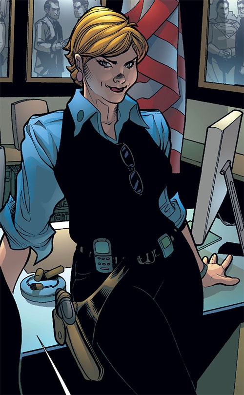 Etta Candy-Trevor (Wonder Woman ally) (DC Comics) with a blue shirt