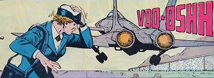 Etta Candy, and a jet fighter taking off