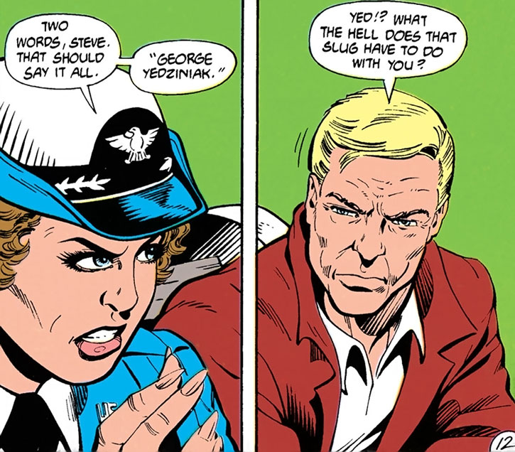 Etta Candy and Steve Trevor discuss George Yedziniak