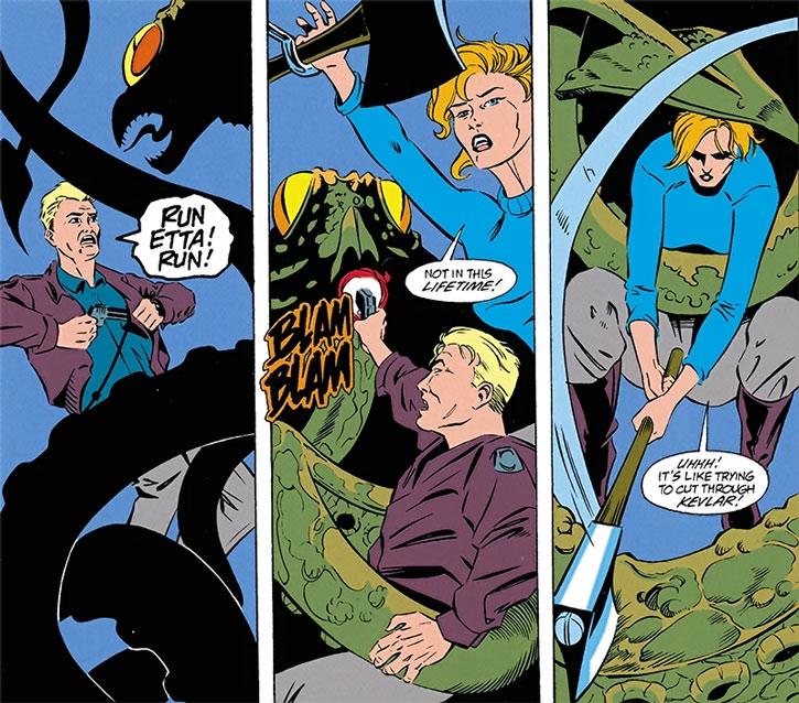 Etta Candy and Steve Trevor vs. a tentacled monster