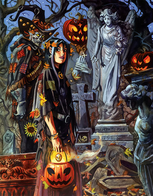Nocturnals - Eve Horror Halloween Girl - Brereton comics - In a cemetery with Gunwitch