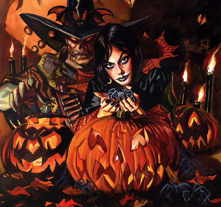 Nocturnals - Eve Horror Halloween Girl - Brereton comics - With Gunwitch and spiders