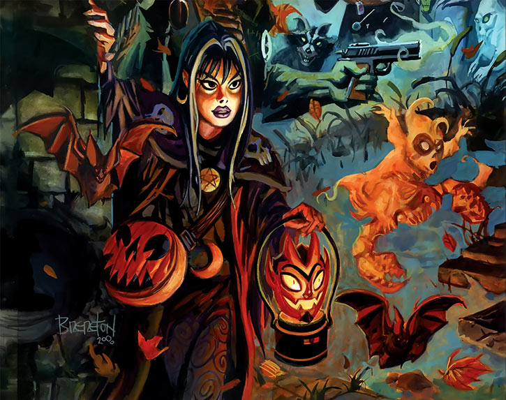 Nocturnals - Eve Horror Halloween Girl - Brereton comics - With devil lantern