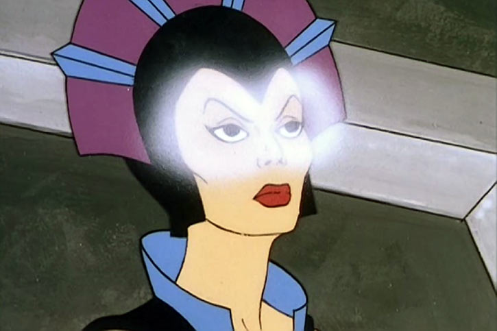Evil-Lyn (Masters of the Universe cartoon) eyes glowing