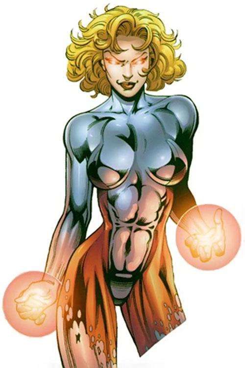 Evinlea (Crossgen Negation comics) in a silvery jumpsuit
