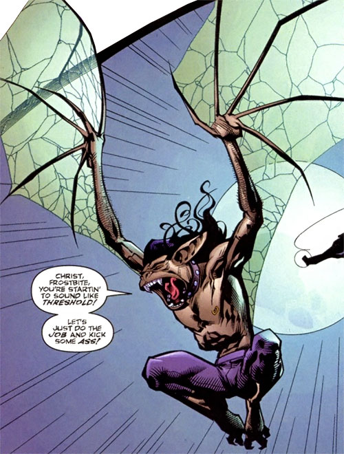 Evo (DV8) (Wildstorm Comics) flying in bat form