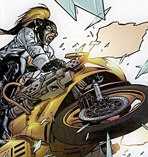 Exterminatrix (Oubliette Midas) (Marvel Boy character) (Marvel comics) on a bike with machineguns