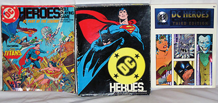 The 3 main editions of the DC Heroes RPG