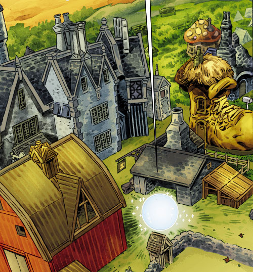 Fabletown (Fables DC Comics) Farm buildings and giant boot