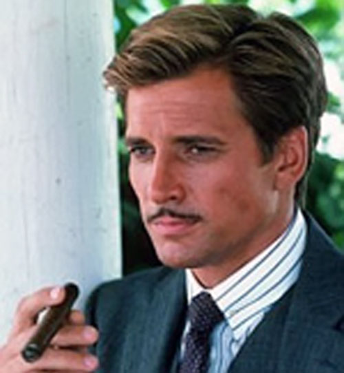 Faceman of the A-Team (Dirk Benedict) with a moustache and cigar