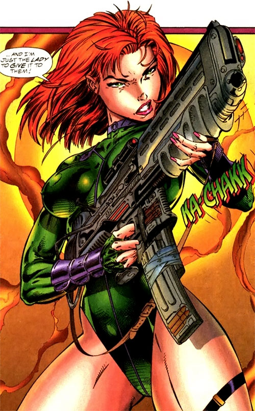 Fairchild (Gen13) (Image Comics) with a gun