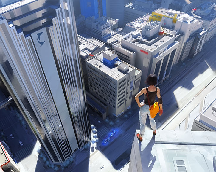 Faith Connors (Mirror's Edge) on a really tall rooftop