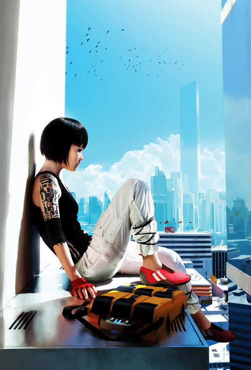 Mirror's Edge video game - Faith Connors - resting - Art